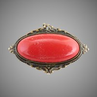 Antique red cabochon pin brooch pendant