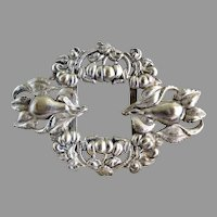 Antique tin belt buckle Art Nouveau fruit flowers