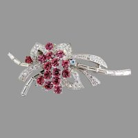Vintage brooch flower bouquet pink rhinestone flowers