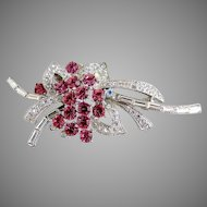 Vintage brooch flower bouquet pink rhinestone flowers