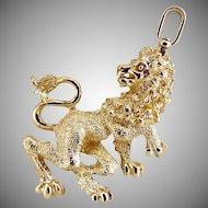 Vintage figural Lion pendant textured Leo August zodiac