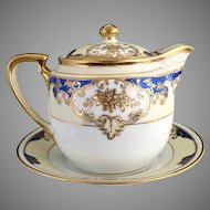 Noritake porcelain covered creamer syrup gold cobalt c. 1920