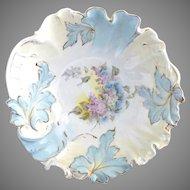 Antique  R.S. Prussia porcelain bowl leaf swirl mold lilacs 1890s