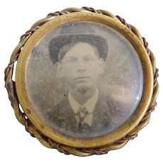 Antique gem tintype photo pin Gentleman with bowler hat c. 1860s