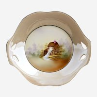RS Prussia porcelain bowl old mill scene