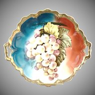 Antique cake plate grapes coin gold hand painted Bavaria c. 1900