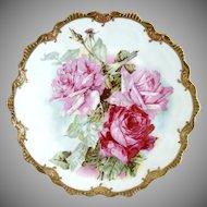 Antique porcelain plate pink roses gold Zeh Scherzer Bavaria c. 1900