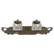 Victorian cast iron double inkwell