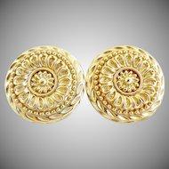 Vintage gold medallion earrings St. John