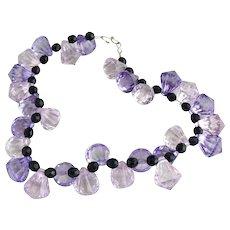 Vintage lucite necklace lavender teardrop jet beads