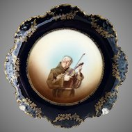 Rosenthal portrait plate musical monk flow blue gold c. 1896