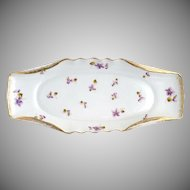 Antique Austria porcelain asparagus tray purple violets c. 1908