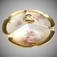Vintage porcelain serving tray hand painted roses Japan c. 1920s
