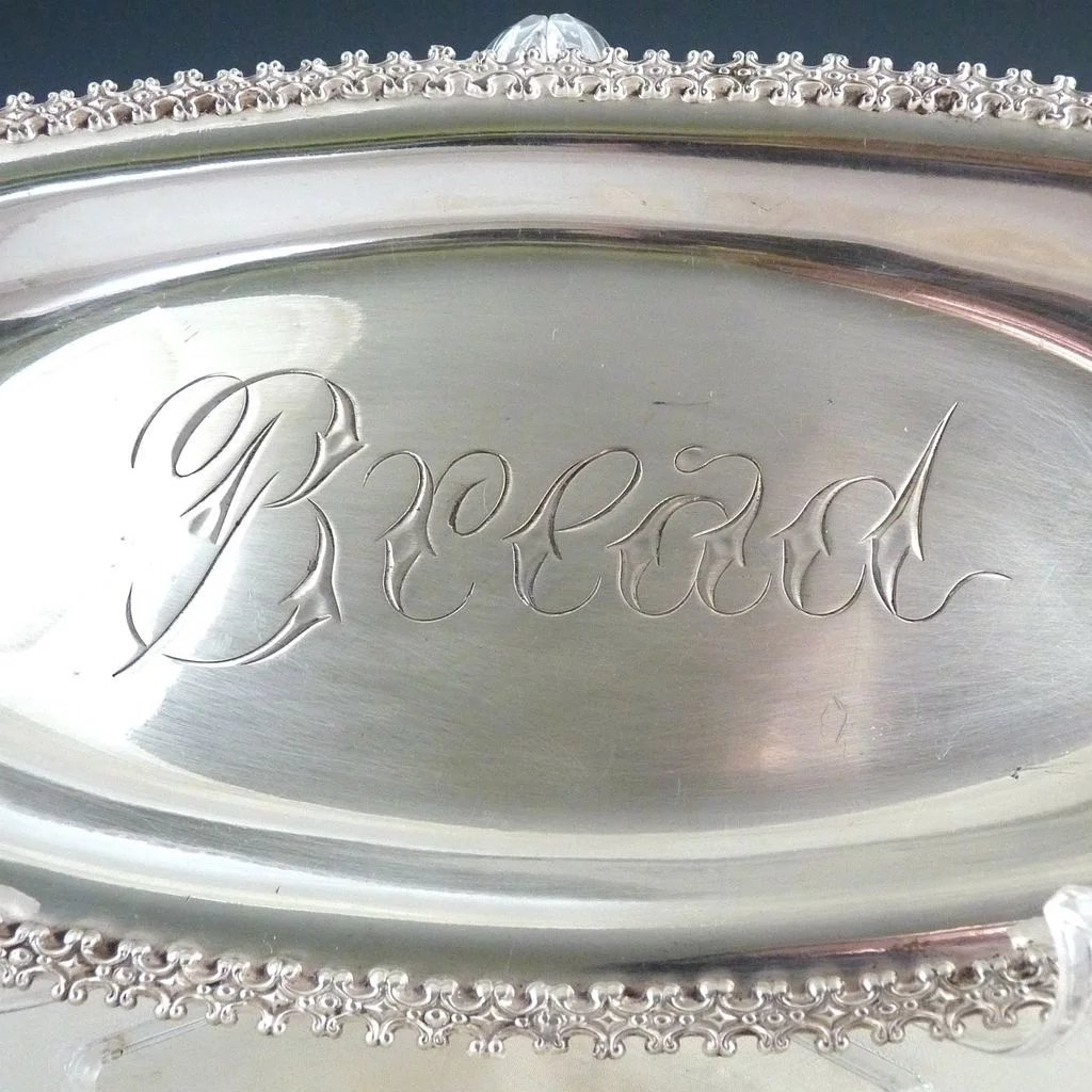 Antique Silver Bread Tray Engraved Quadruple Plate 1930s