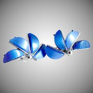 Vintage Coro lucite earrings blue silver clip half flower