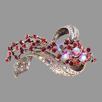 Vintage rhinestone coat pin japanned flowing flower