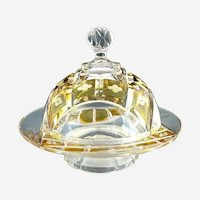 Cut crystal domed butter dish pedestal cut to clear Bohemian