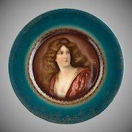 R.S. Prussia portrait plate Victorian woman blue beehive mark