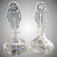 Vintage perfume bottles pressed glass flowers matching pair