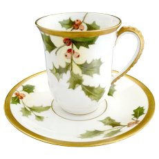Limoges porcelain Christmas cup saucer holly berry gold A. Lanternier