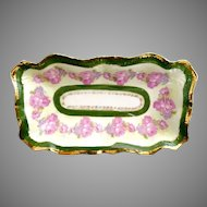 Antique German olive dish pink roses gold Chantilly