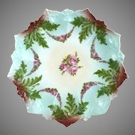 Antique Victorian plate roses ferns Austria c. 1890s
