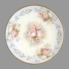 Vintage porcelain plate blush roses ES Prussia Suhl c. 1920s