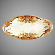 Antique Pickard porcelain pickle dish hand painted gold acorns