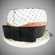 Vintage hat black netting bow Easter Bonnet