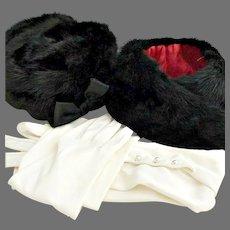 Gimbels of New York mink hat coat collar opera gloves winter wedding