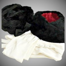 Gimbels of New York mink hat coat collar opera gloves winter wedding