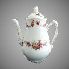 Antique demitasse coffee pot bridal rose garlands Ohme Silesia