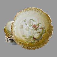 Porcelain berry bowl set hydrangeas Rosenthal Bavaria c. 1900
