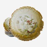 Rosenthal porcelain berry bowl set hydrangeas Bavaria c. 1900