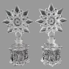 Early pressed glass perfume bottles scent bottles star shaped