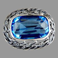 Antique brooch filigree faceted blue crystal rhinestone