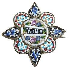 Antique Italian mosaic glass pin brass setting