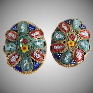 Vintage earrings Italian mosaic glass