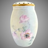Antique porcelain sugar shaker muffineer hand painted blossoms