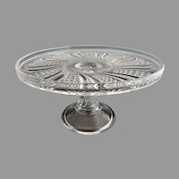 McKee antique glass cake stand salver Doric Feather