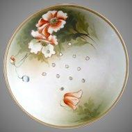 Noritake berry strainer bowl orange poppies Japan c. 1910