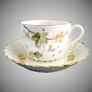 Italian fine porcelain tea cup and saucer hand painted Ginori