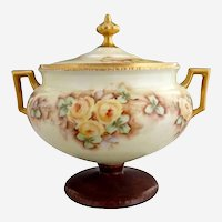 RS Prussia covered compote hand painted signed