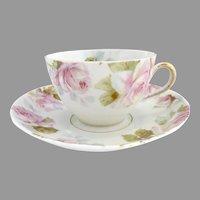 Antique tea cup pink roses 5 o'clock tea Ohme c. 1892