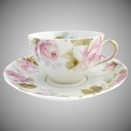 Antique tea cup pink roses 5 o'clock tea Ohme c. 1892