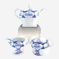 Antique Delft porcelain tea set windmills sailboat cows