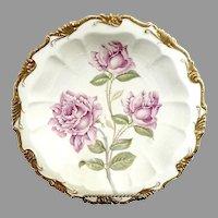 Antique porcelain Bavaria bowl pink roses gold Rosenthal