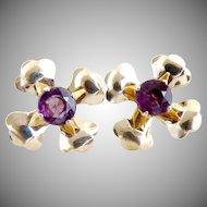 Vintage silver earrings flower amethyst center rhinestone