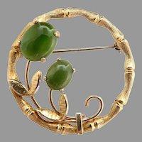 Vintage pin bamboo circle jade cabochon flowers gold filled