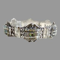 Mexican Sterling bracelet Mother of Pearl abalone 1940's